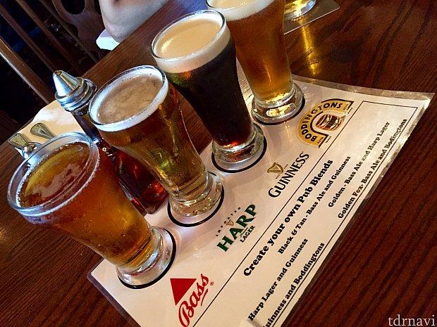 最近は多くのレストランで見かける、「ビールフライト」少しづつ、色々な味のビールを楽しむ事ができます。