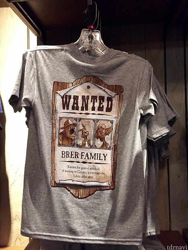 こちらもお子さま用のTシャツです。指名手配されてます。「ブレア一味に注意。有名ないたずら好き。」一味?そう言う設定でしたっけ?確かに彼らのせいで、チカピンヒルが水浸しになってしまった訳ですが…