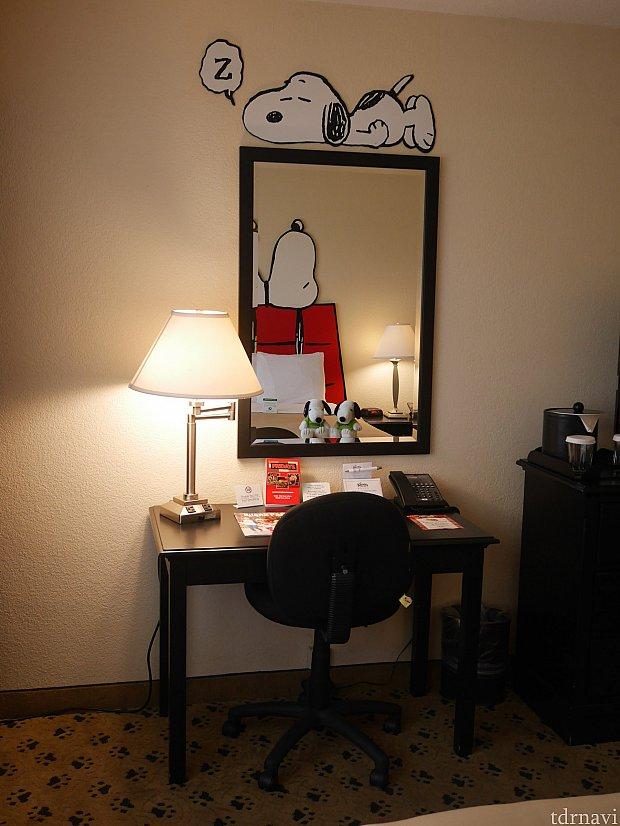 鏡の上にもスヌーピー