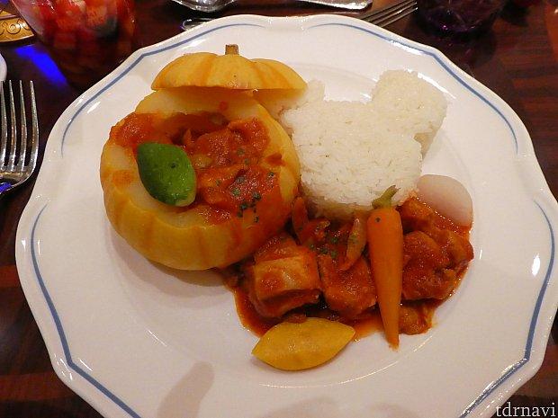 カボチャのシチュー&ライス…シチューは美味しかったけど…ライスは…。(^_^;)