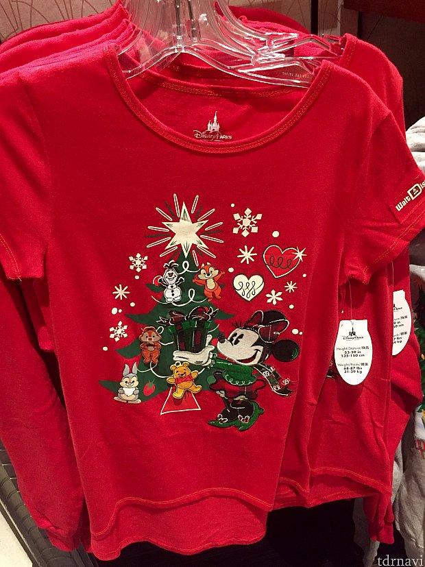 似たようなデザインですが、こちらも赤いミニークリスマスTシャツ。$29.99。