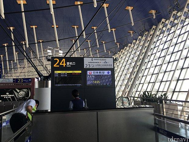 上海東浦24番ゲートより搭乗