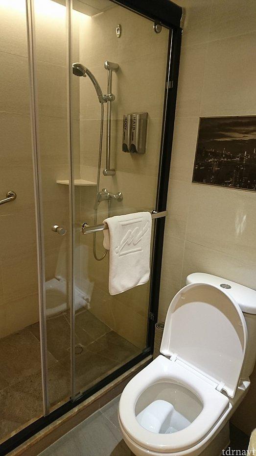 ハンドシャワーは水圧の調整が出来るタイプ。 シャンプーとボディーソープは壁掛け式。 トイレの水量も問題なし。
