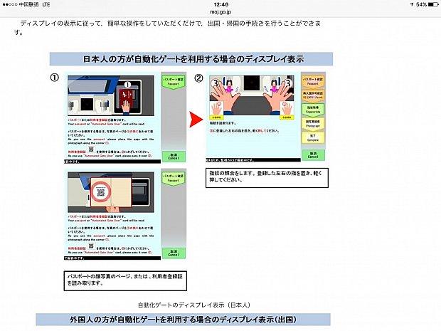 自動化ゲート出入国時の手続き方法(入国管理局ホームページより)。そんなに難しいことはなく、サクッと終わりました