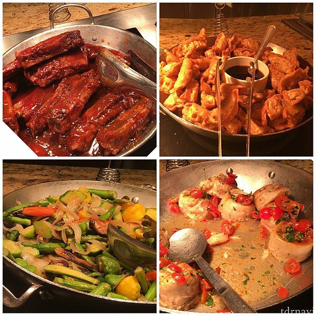 BBQポークリブ、揚げ餃子、温野菜、白身魚♪全部美味しかったです♪