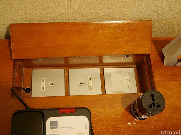 テーブル上にはコンセントと変換器がありました。