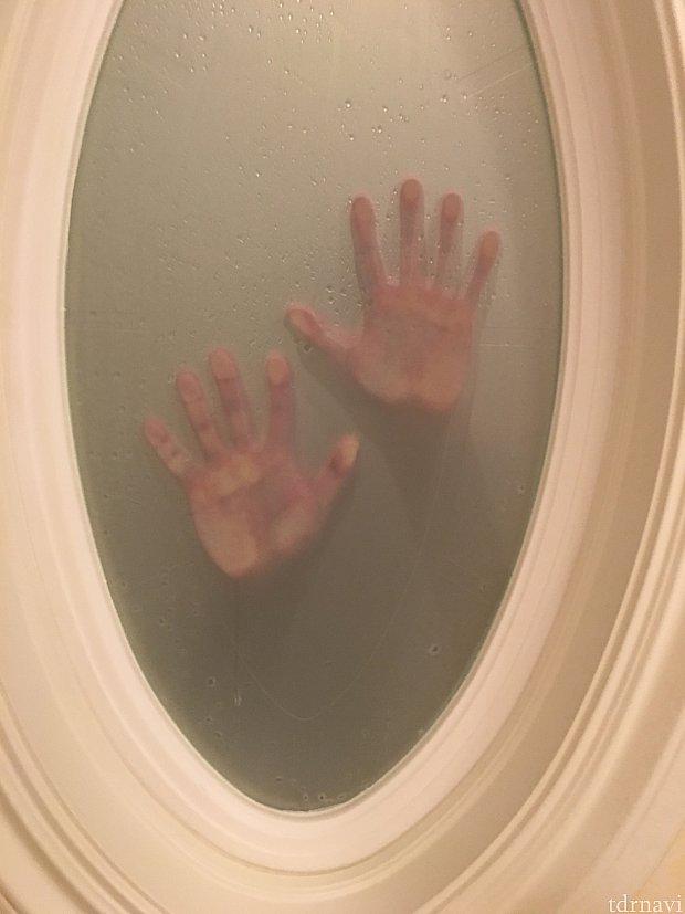 お風呂場から、ベッドルーム側の窓でスリラー(大爆笑)