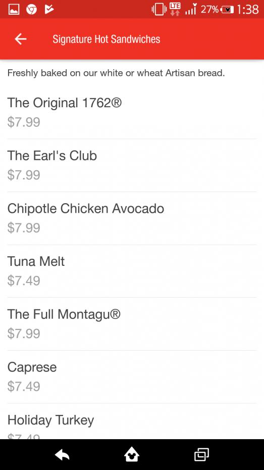 【アプリ】ただお店を選択すると、そのお店のメニューと値段を見るだけはできます! これはダウンタウンディズニー店のメニューと価格(税抜き)