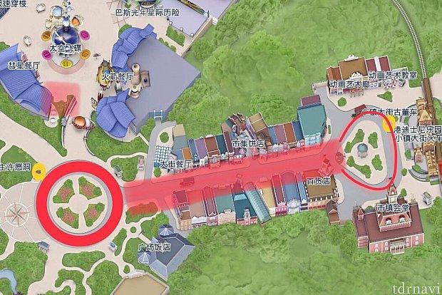 黄色の部分が停留所。赤色のルートを循環しています。