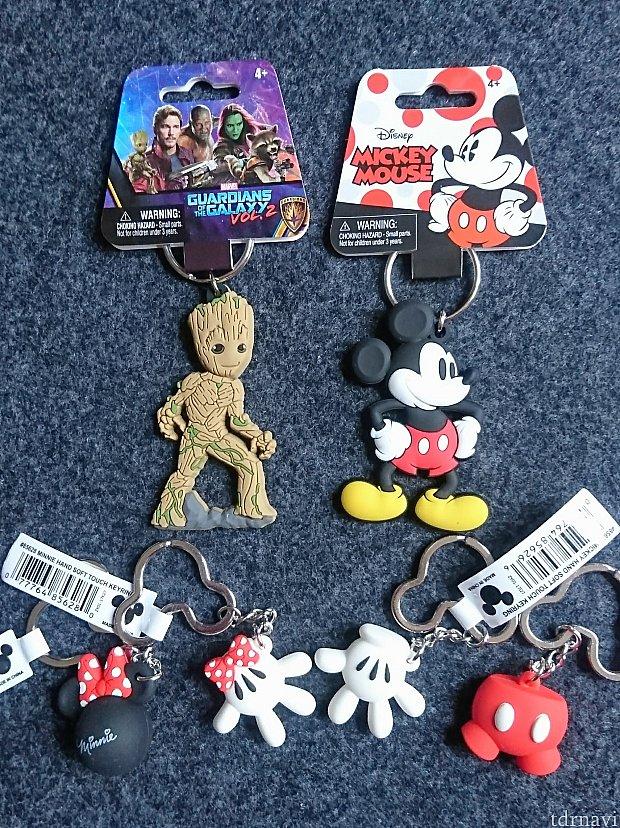 ちゃんとディズニーやマーベルの商標が入ったキーホルダー。ばらまき土産にピッタリ♪ 【上段】$2.99【下段】$1.99(税抜き価格)