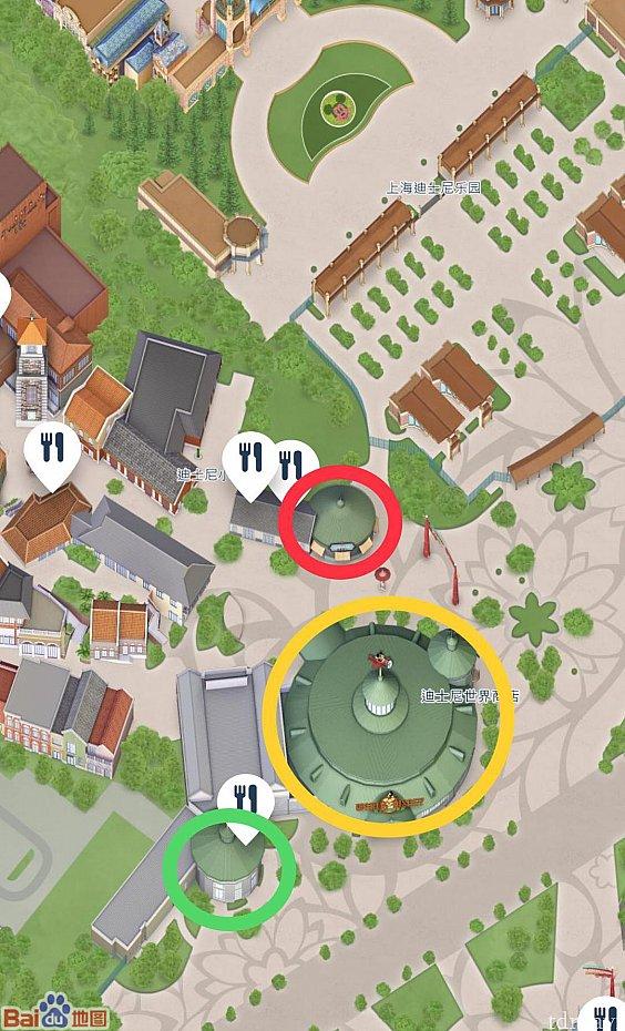赤丸が旧スプーンフル・オブ・シュガー。すでに公式からは名前が消えています😢黄丸がワールドオブディズニー、緑丸がスタバです。
