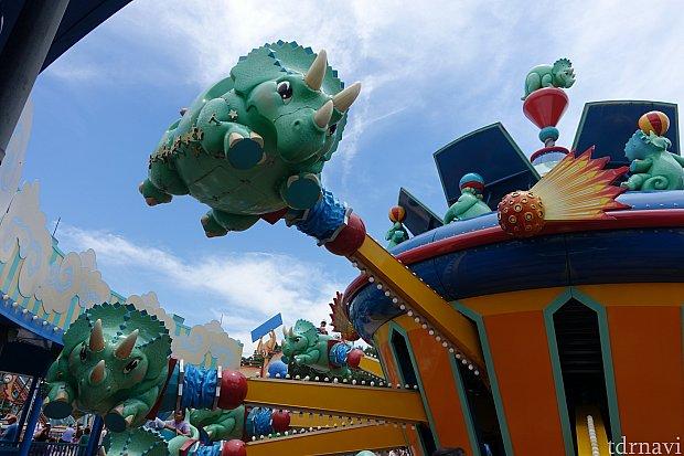 空を舞うトリケラトプス