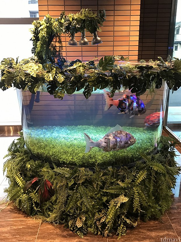 ロビーにいるロボットの魚たち。