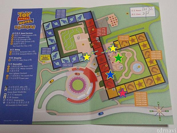 ホテルのマップです。青☆がフロント、黄☆が喫煙所で、赤☆の部屋にしていただきました(*T∇T*)ウッディ&ジェシーは、緑☆でグリーティングしていました!