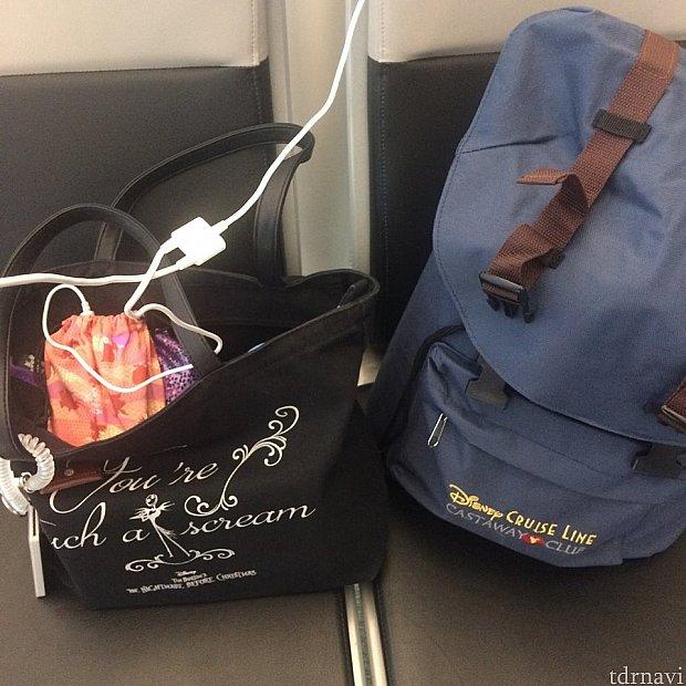 リュックとトートバッグを1つずつに1泊2日の荷物をまとめました。