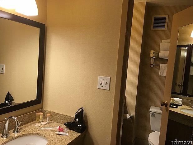 洗面台は2つあり便利です。トイレは流れるのに少し時間が要ります。