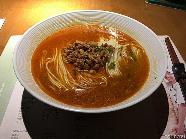 山椒が効いていて日本で食べるのとは一味違う担々麺。
