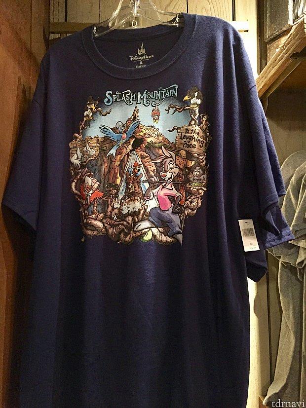 大人用Tシャツ。クラッシックなデザインで一目でスプラッシュマウンテンのTシャツだとわかります。価格は$24.99。