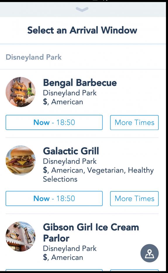 利用したいレストランを選びます。利用する時間がすぐではない場合、More Timesを選べば先の時間も選ぶことができます。今回はお店の中で利用したので、Now-の時間帯を選びました。ちなみにこのときは18時11分です。