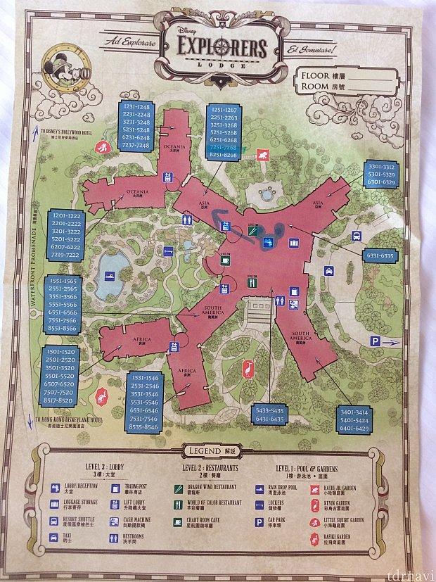 ホテル内のマップ