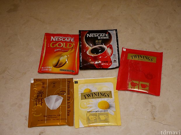 無料のティーパックはプーアル茶が!さすが香港!