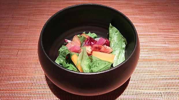 根菜は一度揚げていて柚子ドレッシングです