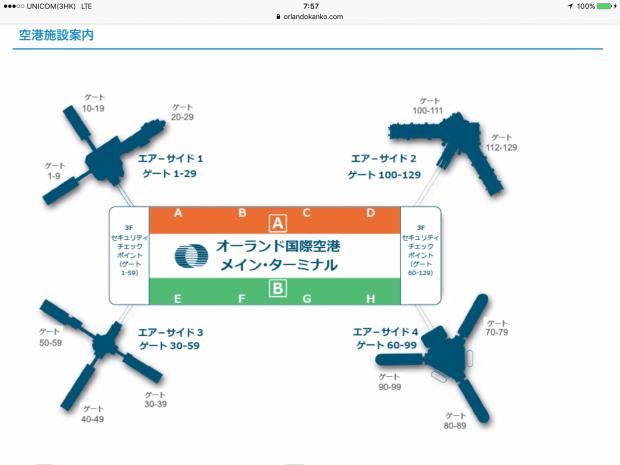 オーランド国際空港の案内図。マクドナルドは中央の「ド」の字あたりにあります