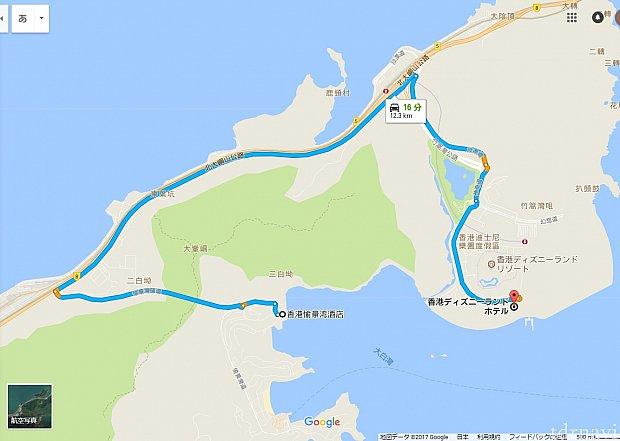 香港ディズニーランドホテルからディスカバリーベイホテルへの最短ルート。Googleマップによると所要時間16分で、12.3km。 高速道路を通っているように見えますが片側1車線の下道です。