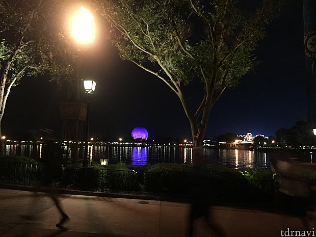 夜のエプコットを走ります。