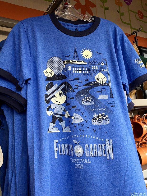 男性用のTシャツはブルーのミッキー。やはりエプコットでガーデニングに励んでいます。$32.99