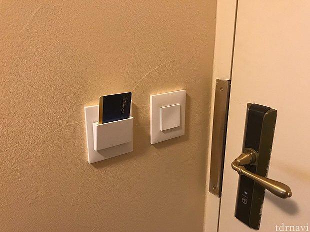 電気はカードキーをさすタイプ。