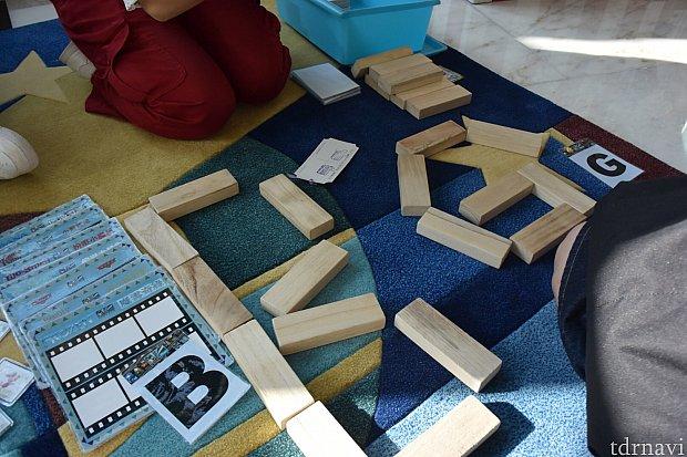 3つ目のゲーム 長方形の積み木は何個使ってもOKでした。