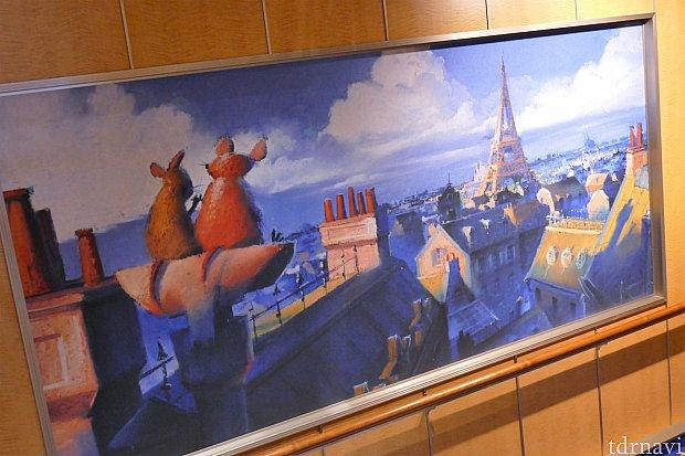 レミーを出たところにある階段の絵画
