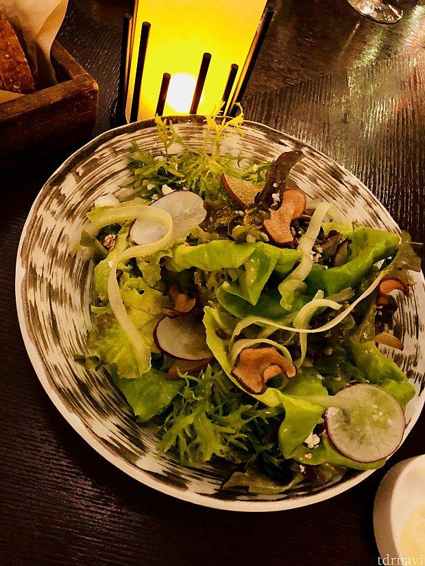 Land Green Saladは、エプコットのランド館で育てられた野菜を楽しめるサラダ。乾燥ナシや、ナシドレッシングが入った、シャキシャキでとても美味いサラダでした。