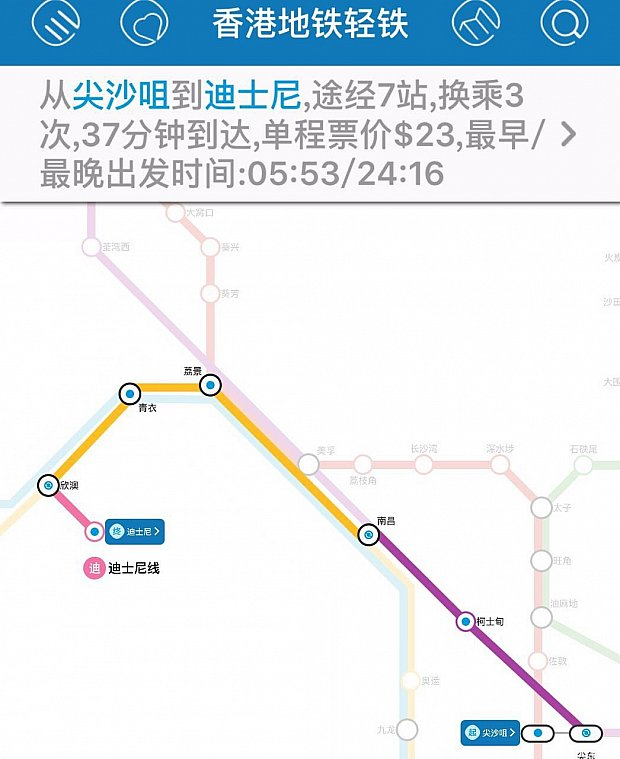 MTR尖沙咀駅から香港ディズニー駅までは37分で行くことが出来ます。乗換えは3回。