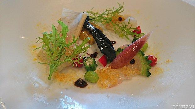真鯛のマリネとポテトのサラダ  ガラムマサラ香るバルサミコヴィネグレット