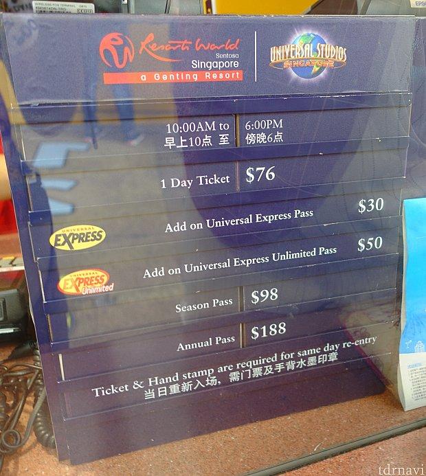 チケットブースの料金表。 平日は30ドルで販売していました。年パス割引あり。