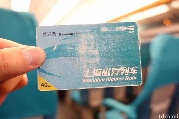 これが上海リニアの切符。