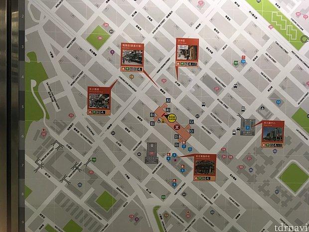 シャンスイポー駅周辺案内図。ホテルは左上の紫色の1です。A2出口を出て直線!