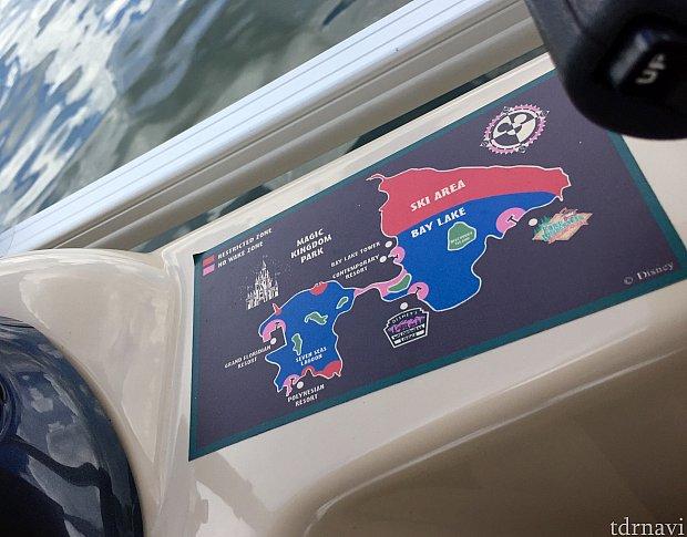 運転席には地図が載っていて、立ち入り禁止区域などが分かりやすく書かれています。これで現在地も把握しやすくなります。