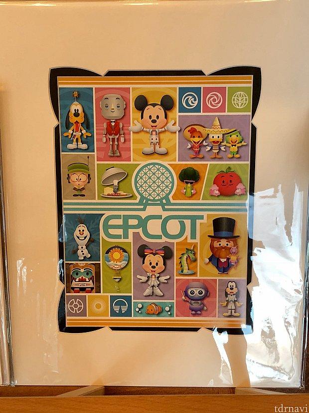 このエプコットのアートも同じアーティストによる作品。キャラクターの描き方に特徴がありますよね。