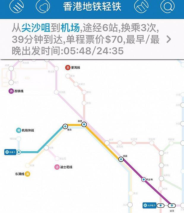MTR尖沙咀駅から香港空港駅までは39分で行くことが出来ます。乗換えは3回。