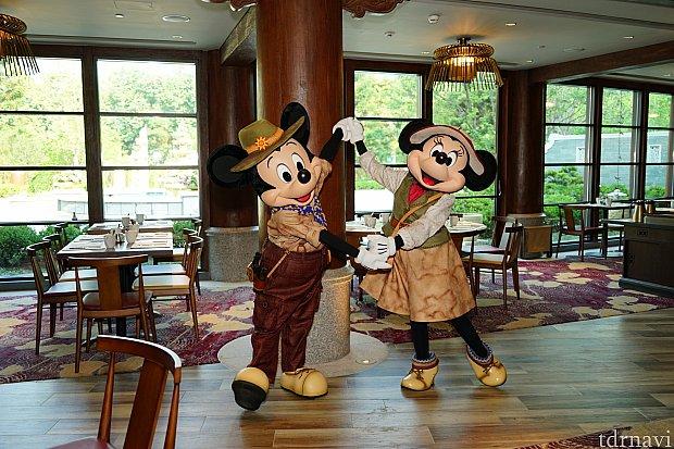 朝8時ちょうどに音楽がスタートして、探検家コスのミッキー&ミニーが登場!