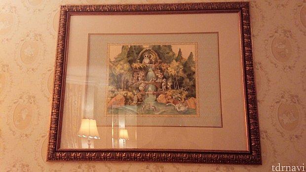 ソファー辺りにも白雪姫と小人達の絵が♡