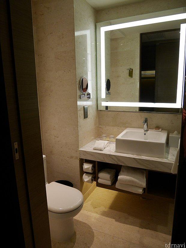 洗面所とトイレ。洗面台は女優ライト