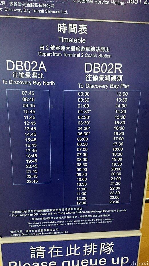 時刻表。ホテル行きは02Aの方。02Rでも行けなくはないようですが、ディスカバリーベイ内のバスに乗り換えが必要、料金も追加っぽい。