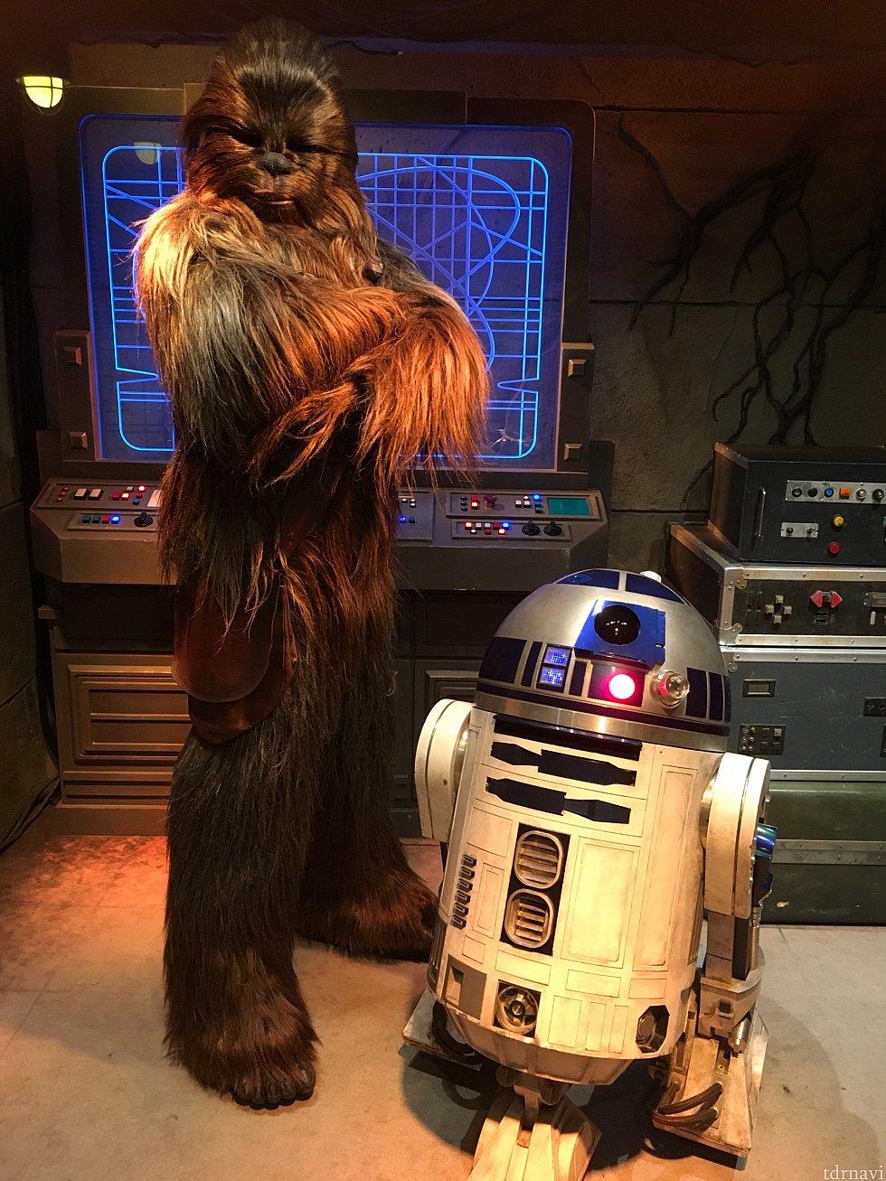 チューバッカ&R2-D2が一緒にいる時がいいかなと思ったので、時間を調べていきました。実際は5分も待たずに会えたと思います