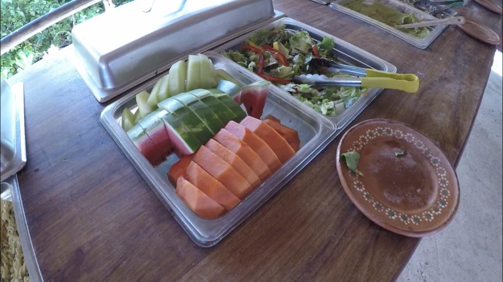 フルーツとサラダ。左にはパスタサラダがありました。