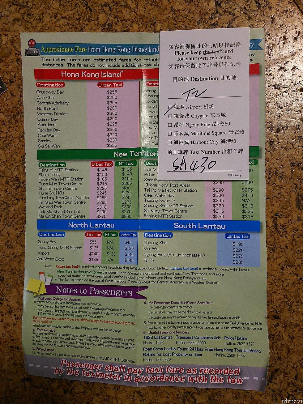 ホテルのドアマンキャストから貰える案内の紙。行き先・乗るタクシー番号と料金の案内の紙がセットになっています。