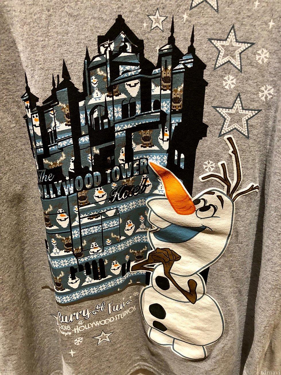 オラフ柄のホリデーTシャツも。タワーオブテラーがオラフ一色にもなったりします。